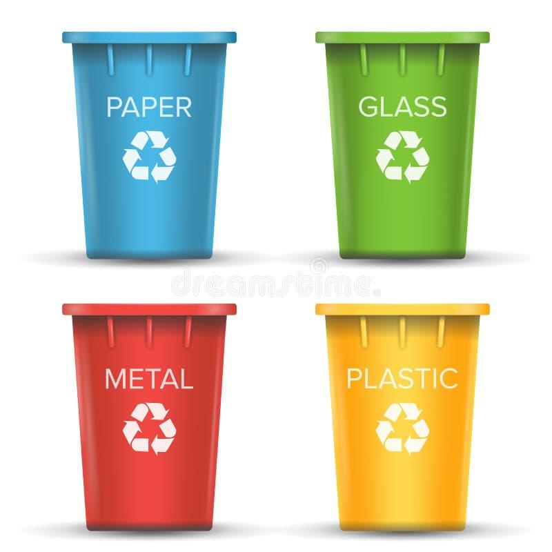 多彩多姿的回收站传染媒介 现实的3D 套红色,绿色,蓝色,黄色桶 对纸,玻璃,金属 库存例证