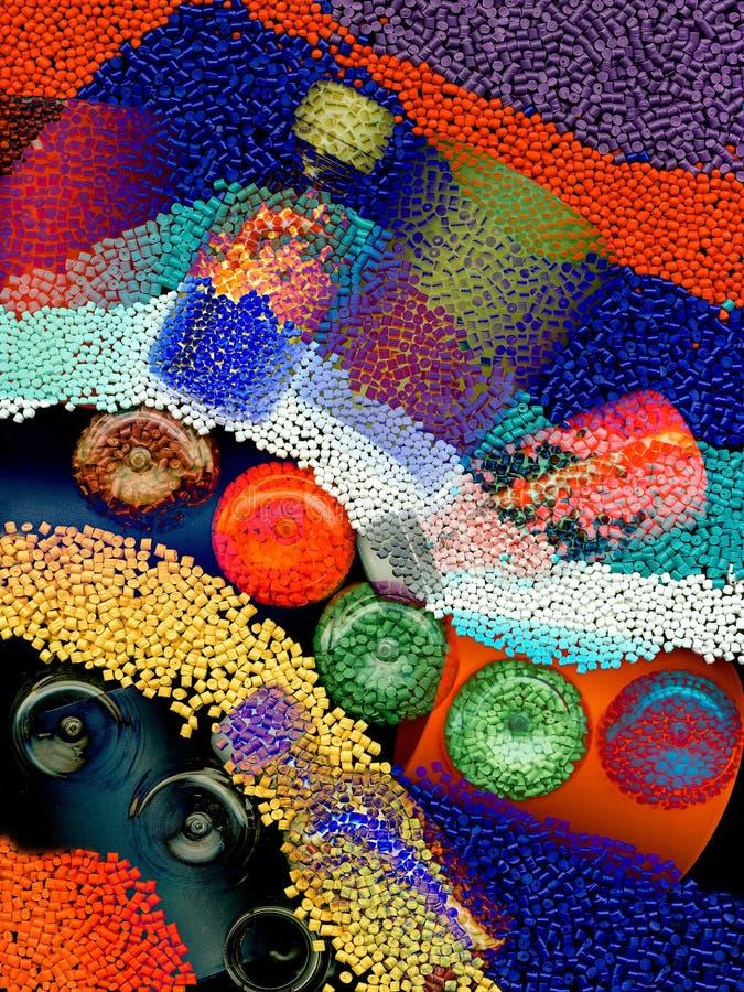 多彩多姿的塑料粒子纹理  库存照片