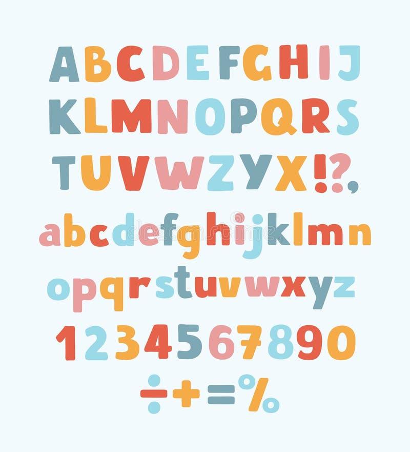 多彩多姿的孩子向量字体、信件、数字和山岳学标志 向量例证
