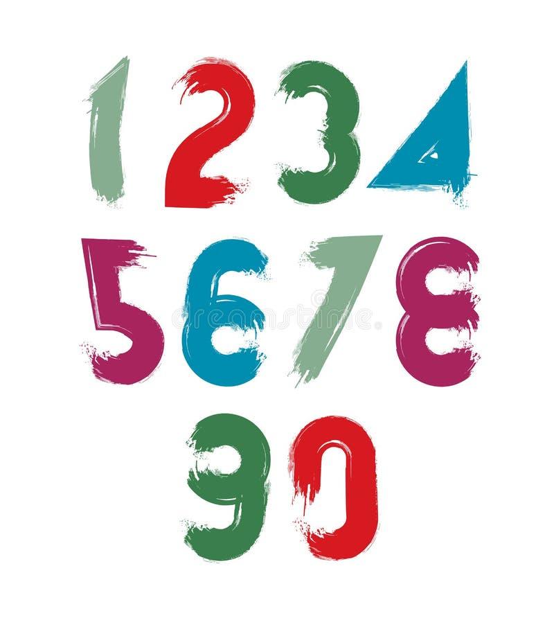 多彩多姿的手写的数字,传染媒介乱画掠过了图图片