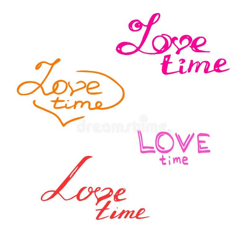 多彩多姿的手拉的题字爱时间!隔绝在白色背景 库存例证