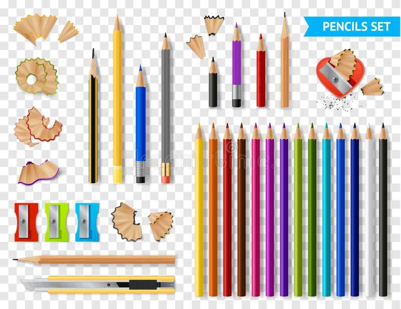 多彩多姿的提高的铅笔透明集合 向量例证