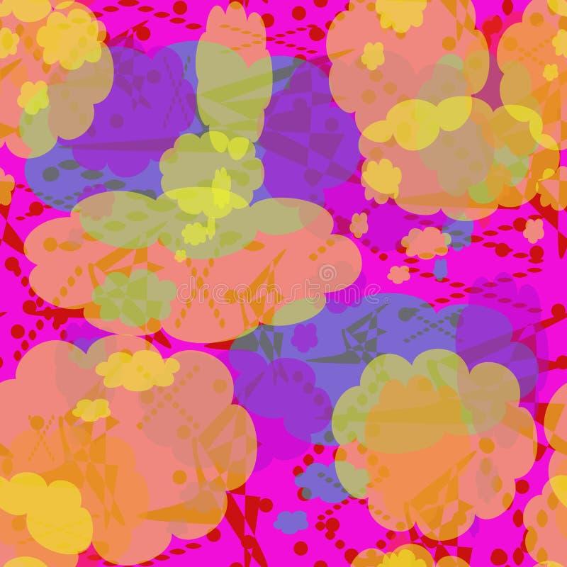 多彩多姿的斑点、线和点的无缝的样式 黄色,红色,绿松石,淡紫色抽象元素 库存例证