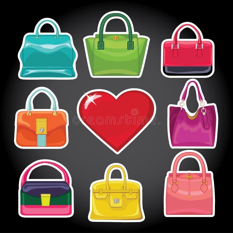多彩多姿的时尚妇女的提包和红色心脏 皇族释放例证