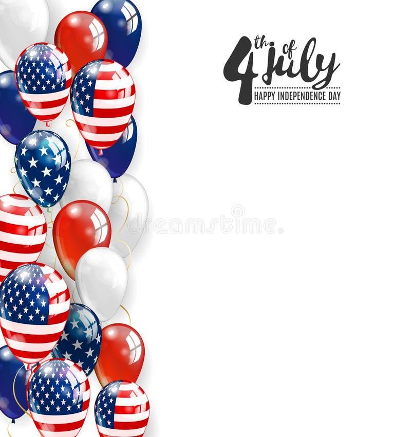 多彩多姿的气球爱国边界  7月4日美国独立日背景 传染媒介现实气球 向量例证