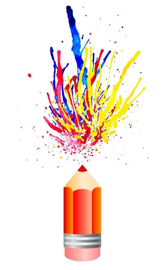 多彩多姿的水彩从pensil飞溅 向量例证EPS10 库存例证