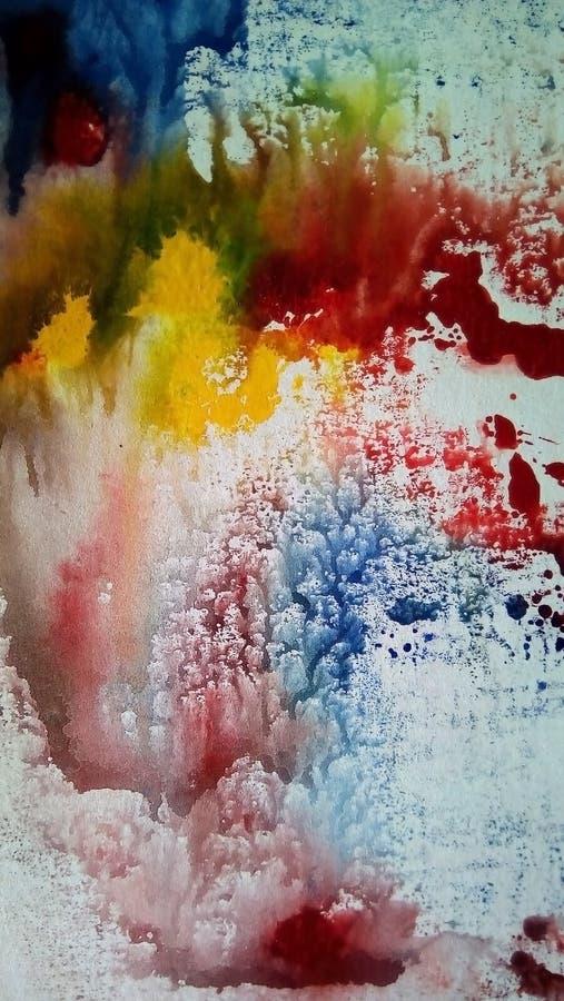 多彩多姿的水彩污点特写镜头在白皮书的 免版税库存图片