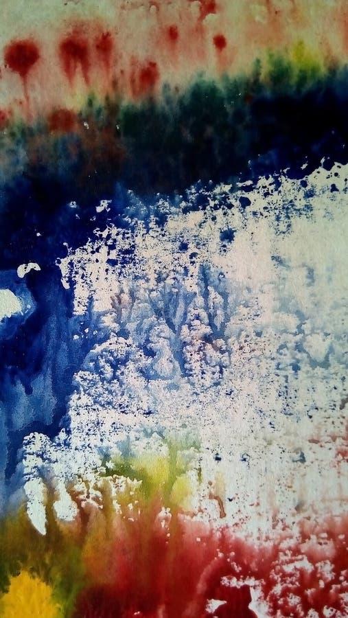 多彩多姿的水彩污点特写镜头在白皮书的 免版税库存照片