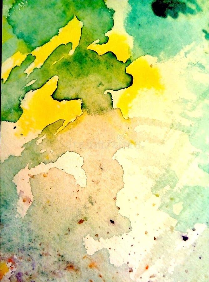 多彩多姿的水彩污点特写镜头在纸的 黄色,绿色,蓝色,棕色污点,滴水,下落 皇族释放例证