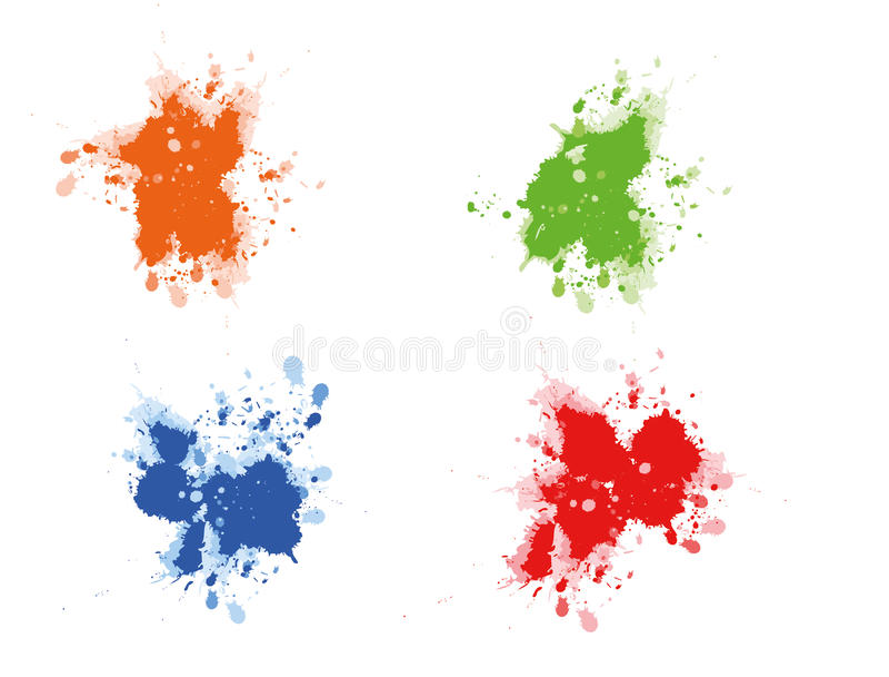 多彩多姿的油漆splats 向量例证