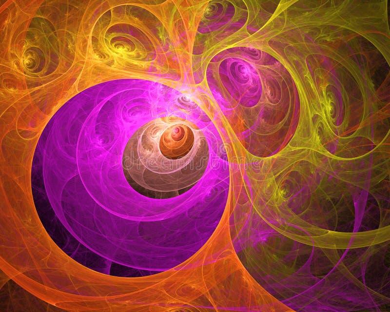 多彩多姿的漩涡起泡的分数维背景 抽象明亮的艺术性的行动构成 现代未来派动态生物样式 库存例证