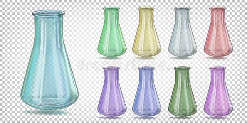 多彩多姿的玻璃实验室锥形烧瓶圆锥形烧瓶,滴定法烧瓶 皇族释放例证