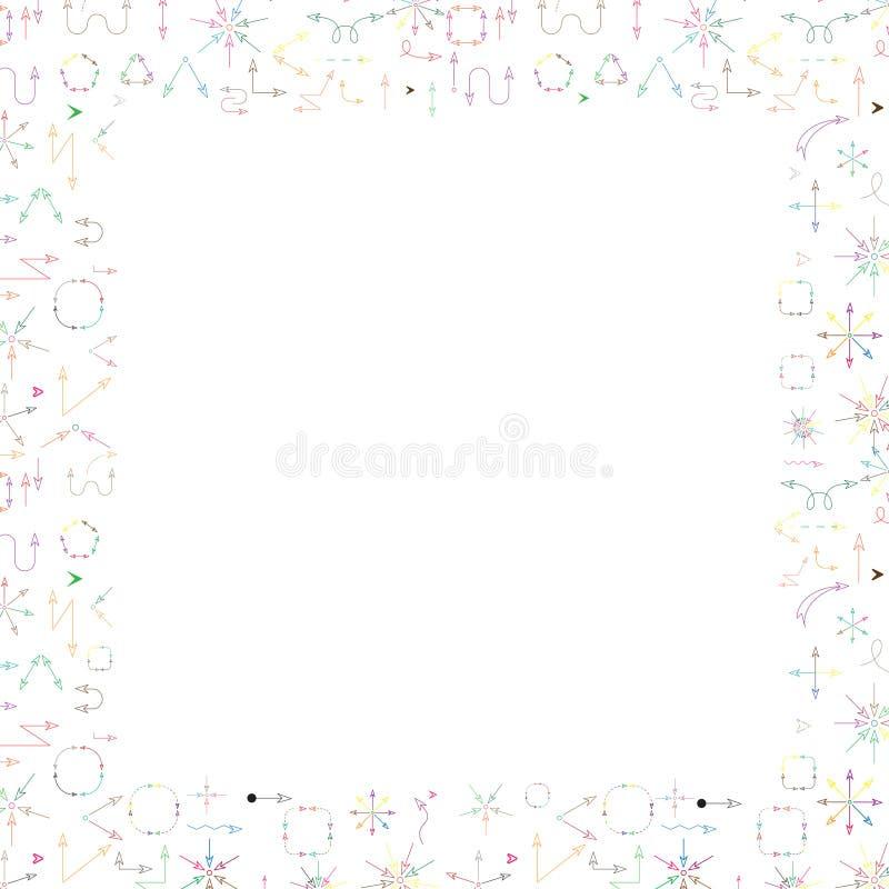 多彩多姿的箭头提取背景whith文本的边界框架 库存图片