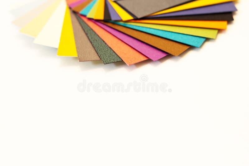 多彩多姿的纸样片调色板 打印的编目纸 免版税库存图片