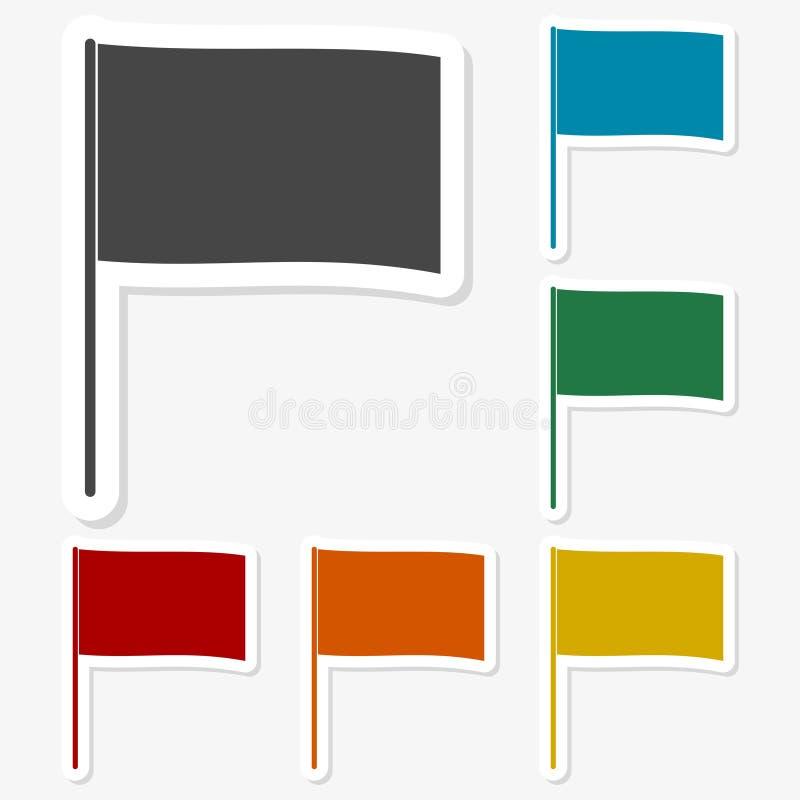 多彩多姿的纸贴纸-挥动的旗子 向量例证