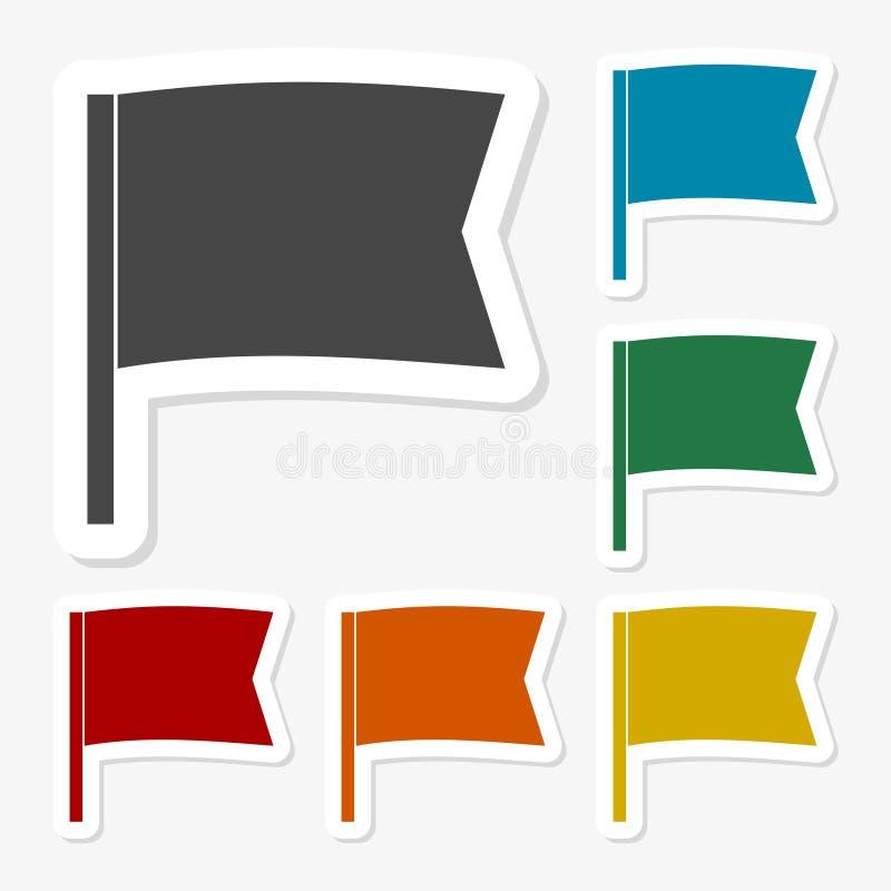 多彩多姿的纸贴纸-挥动的旗子 皇族释放例证