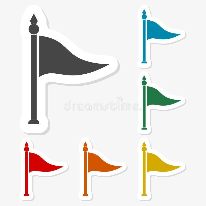 多彩多姿的纸贴纸-挥动的旗子 库存例证