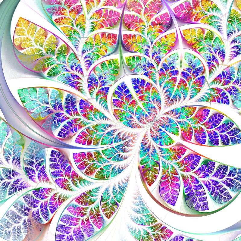 多彩多姿的美妙的分数维样式 汇集-树叶子 库存例证