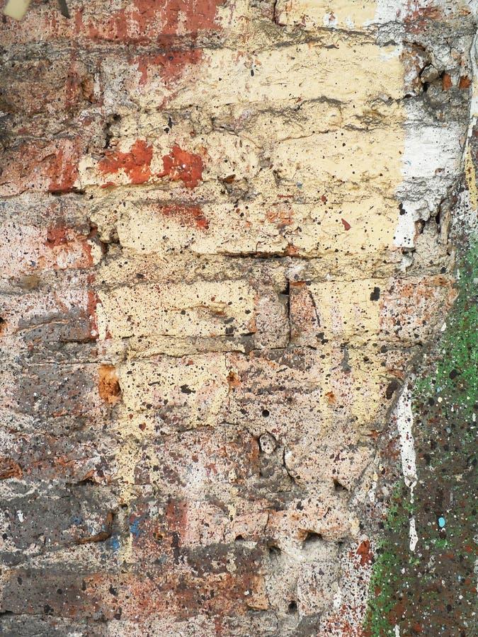 多彩多姿的老砖墙 免版税图库摄影