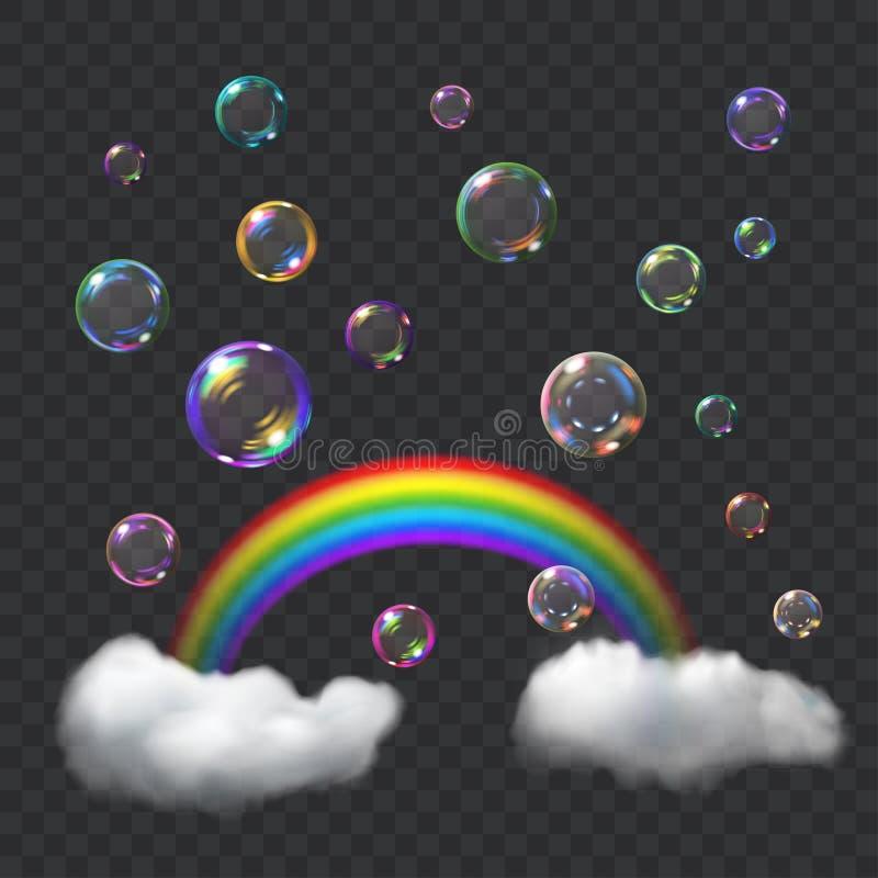 多彩多姿的肥皂泡、彩虹和云彩 库存例证