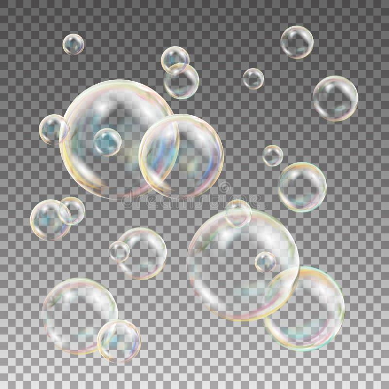 多彩多姿的肥皂泡传染媒介 水和泡沫设计 彩虹反射肥皂泡 例证 向量例证
