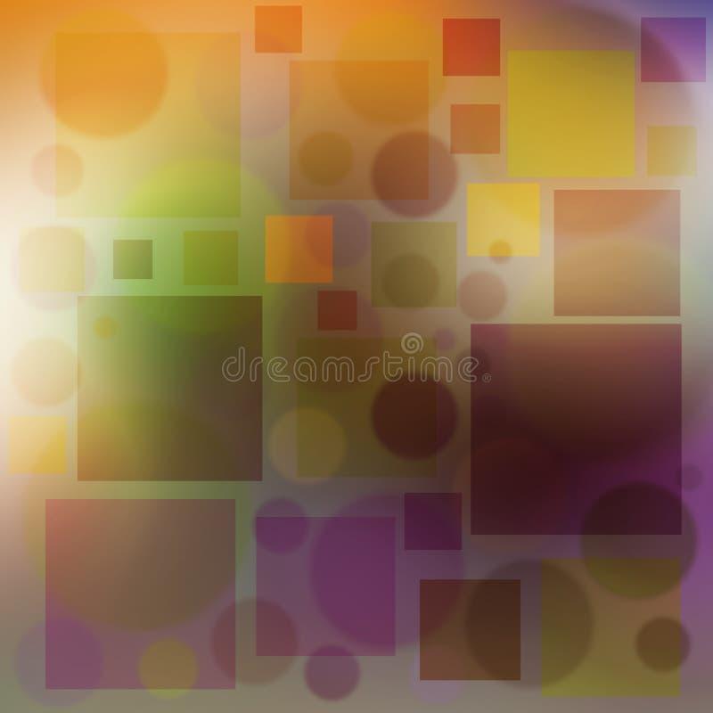多彩多姿的背景起泡圈子和正方形软的颜色 库存例证