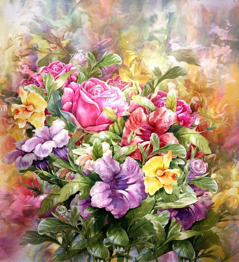 多彩多姿的花水彩绘画样式花束  皇族释放例证