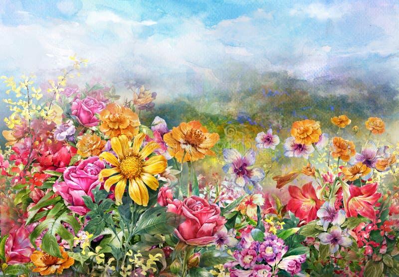多彩多姿的花水彩绘画样式风景  向量例证
