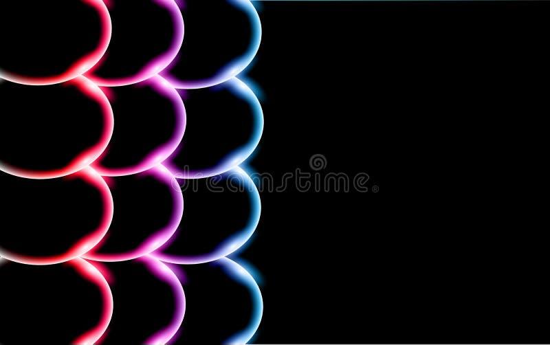 多彩多姿的透明抽象发光的美丽和凸面坚实简单的球,泡影,鸡蛋盘旋与被找出的光强光 向量例证