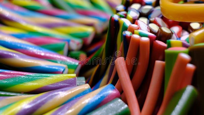 多彩多姿的长的gummies 库存照片