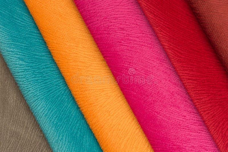 多彩多姿的织品样片 库存图片