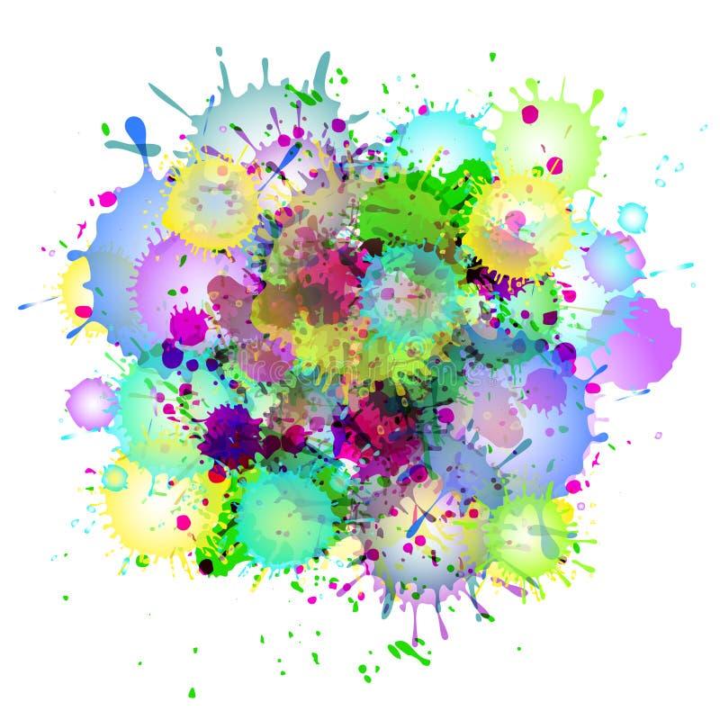 多彩多姿的水彩油漆喷溅传染媒介抽象背景 皇族释放例证