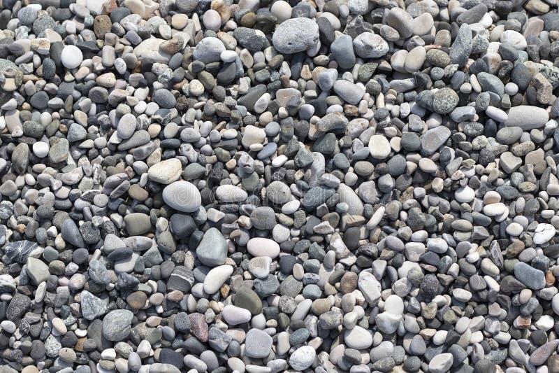 多彩多姿石圆的海 海小卵石构造,观看特写镜头 免版税库存图片
