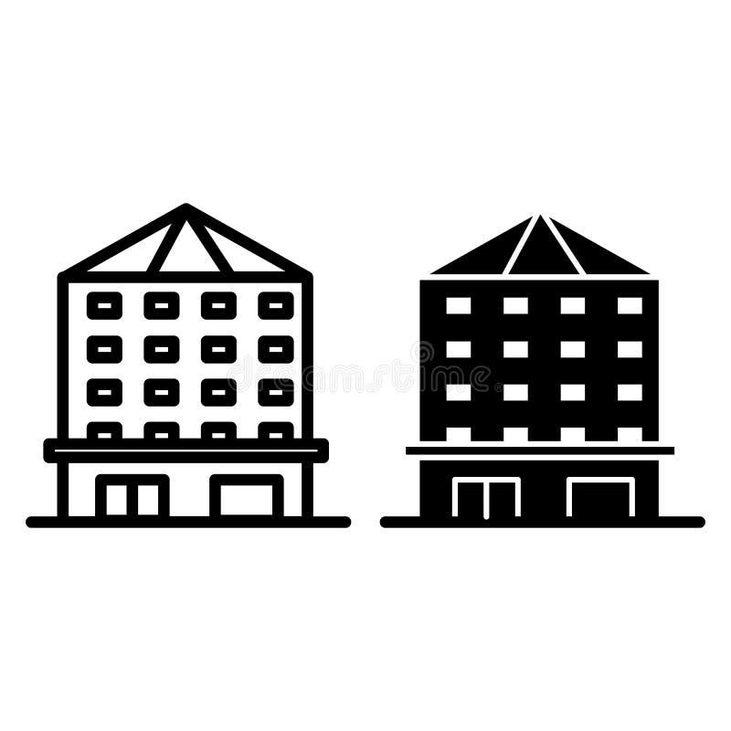 多故事建筑限界和纵的沟纹象 不动产在白色隔绝的传染媒介例证 住宅舱内甲板概述 向量例证