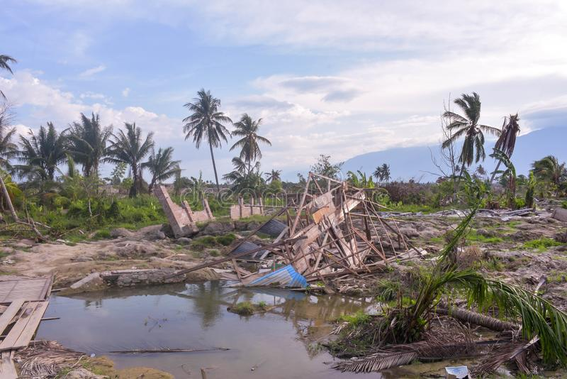 多数严重损伤地震液化Petobo苏拉威西岛中部 免版税库存图片