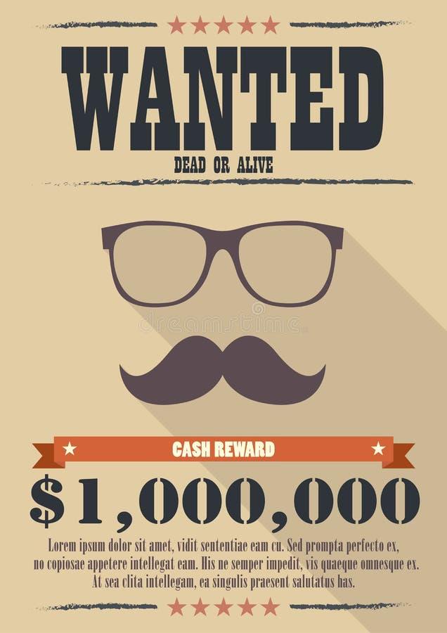多数想要有髭和玻璃海报的人 库存例证