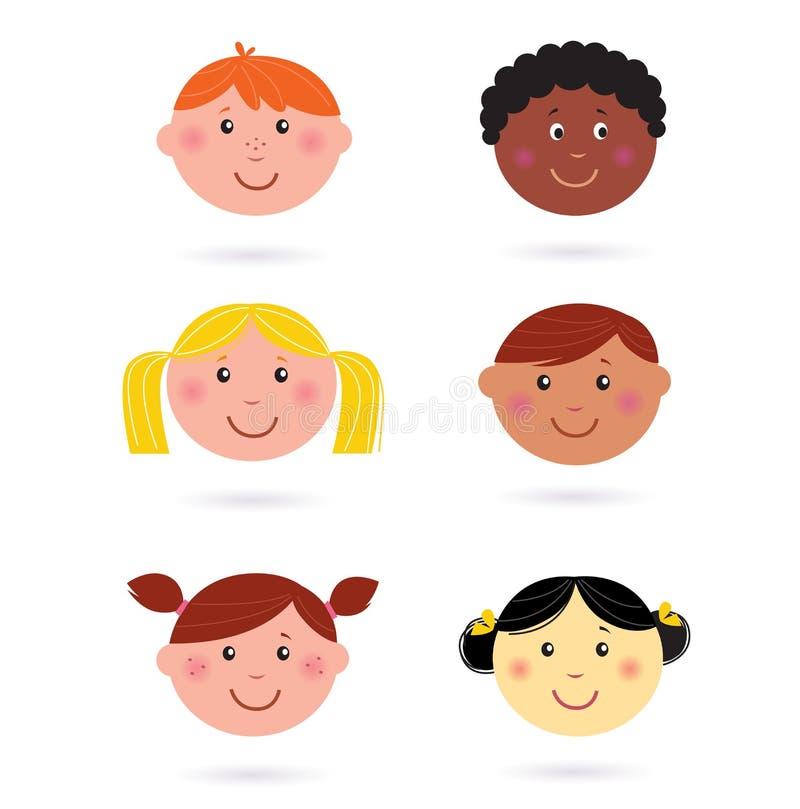 多文化儿童逗人喜爱的题头的图标 库存例证