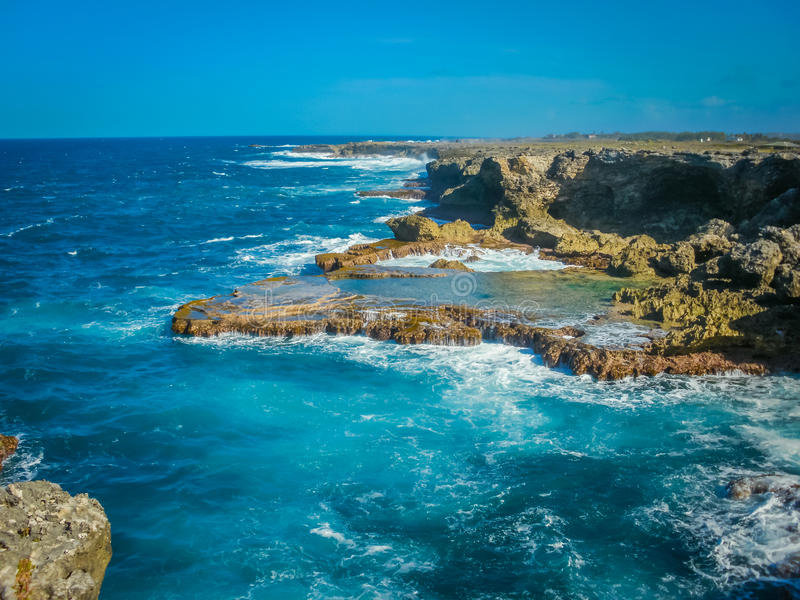 巴巴多斯岩石海岸 库存图片