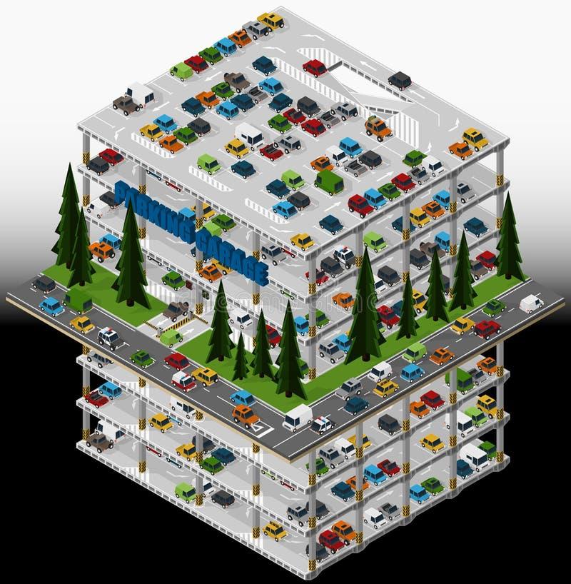 多楼层停车场的例证 库存例证