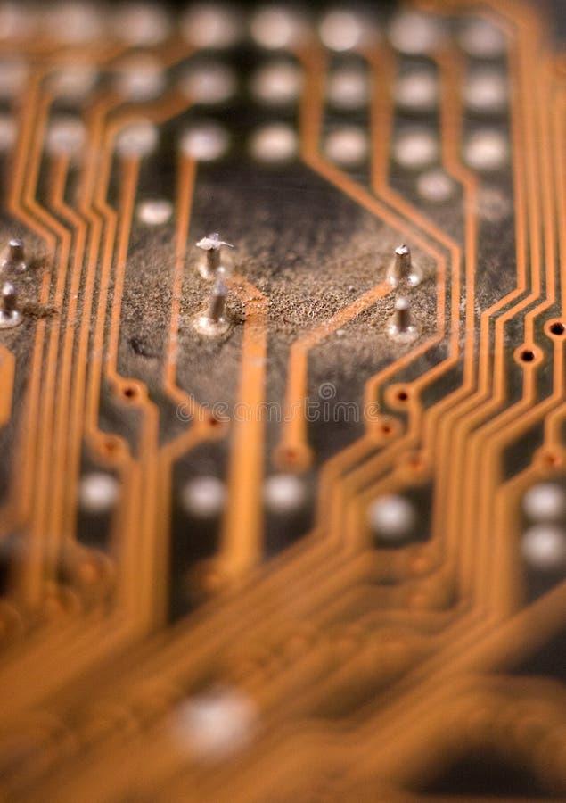 多灰尘电子,电路,板,宏指令 库存照片
