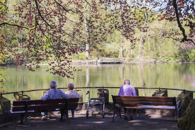 多特蒙德,德国鲁尔区,北部莱茵河西华里亚,德国- 2018年4月16日:龙贝格公园是欧洲庭院网络的一部分 库存图片