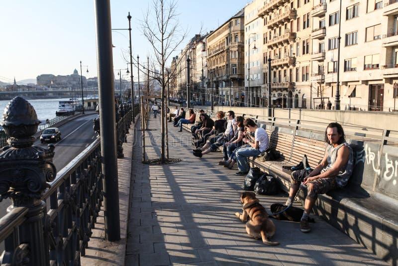 多瑙河堤防在布达佩斯 库存图片