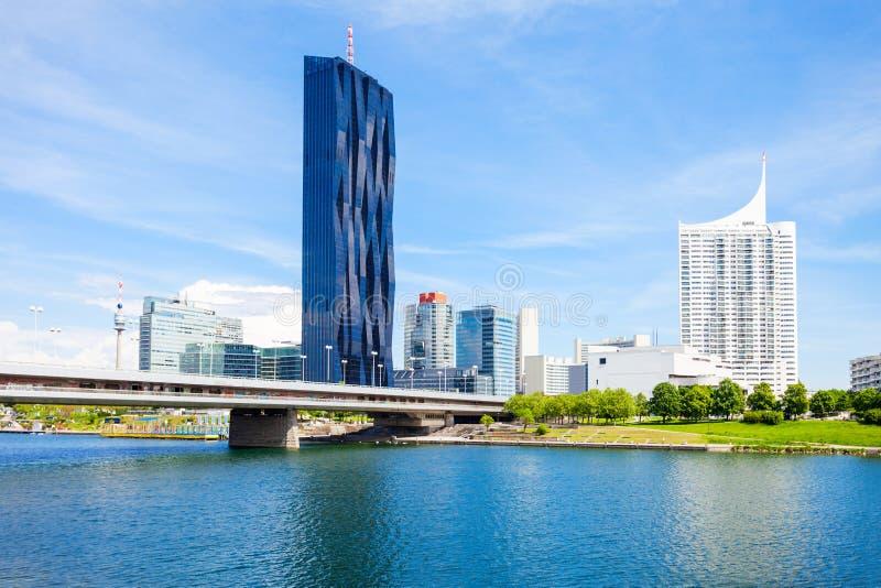 多瑙河现代区,维也纳 库存图片