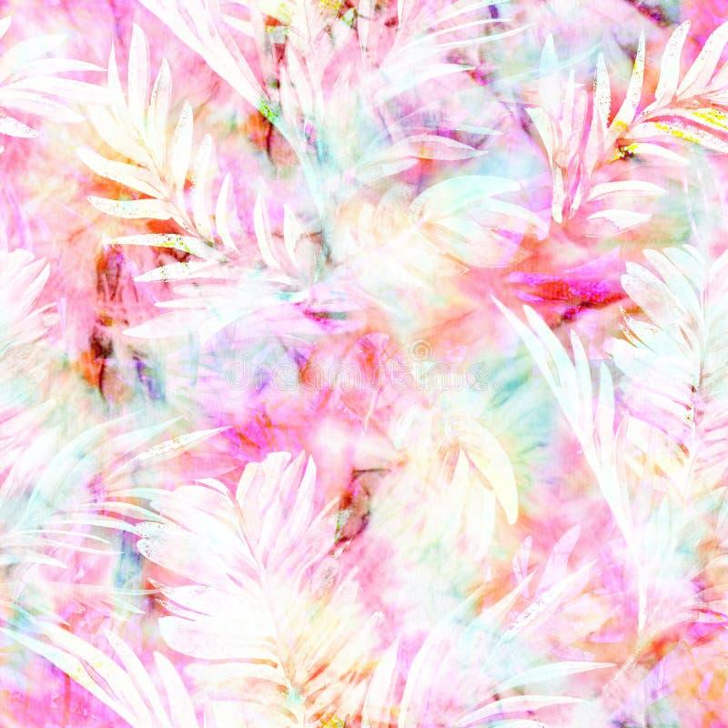 多白粉与热带棕榈叶覆盖物的独角兽淡色领带染料 向量例证
