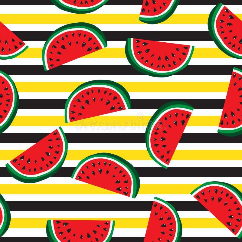 水多的切片的无缝的样式西瓜和水平的条纹 果子抽象背景,传染媒介例证 库存例证