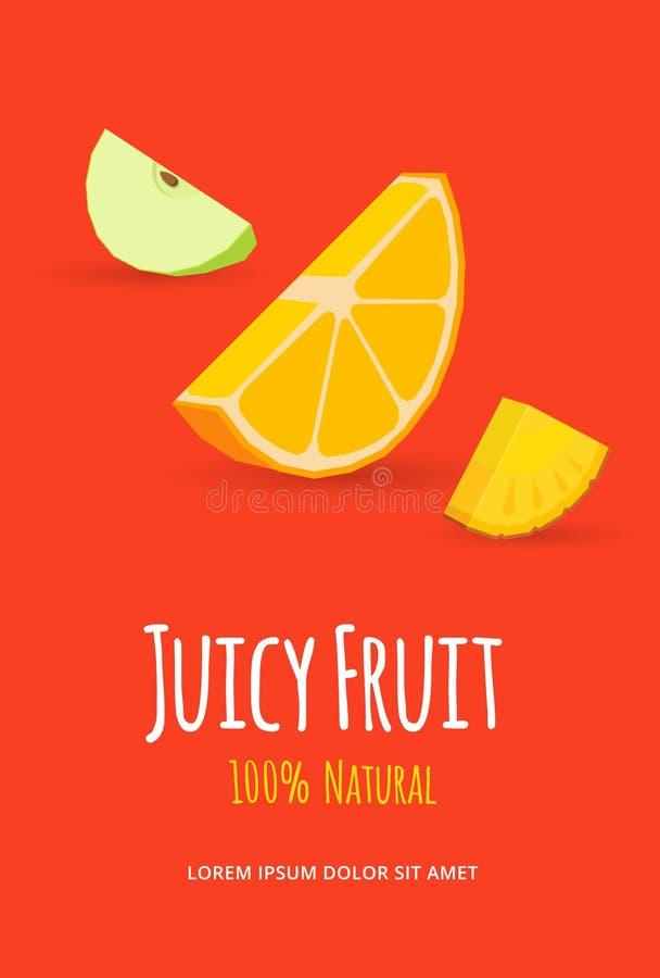 水多的果子海报 库存例证