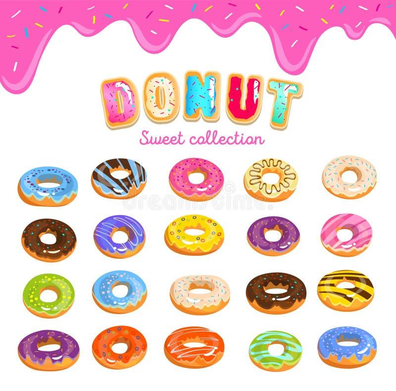 多福饼在动画片样式的象集合与多福饼文本和滴下的桃红色釉背景 与另外釉的五颜六色的多福饼 库存例证