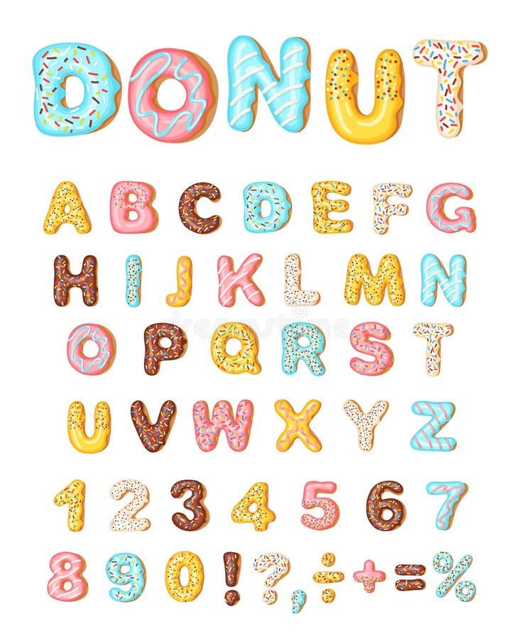 多福饼结冰后者,油炸圈饼字体  面包店美好的字母表 信函和编号 多福饼字母表和数字,被隔绝  库存例证