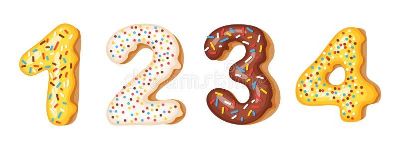多福饼结冰数字数字- 1,2,3,4 油炸圈饼字体  面包店美好的字母表 多福饼b C隔绝的字母表后者 向量例证