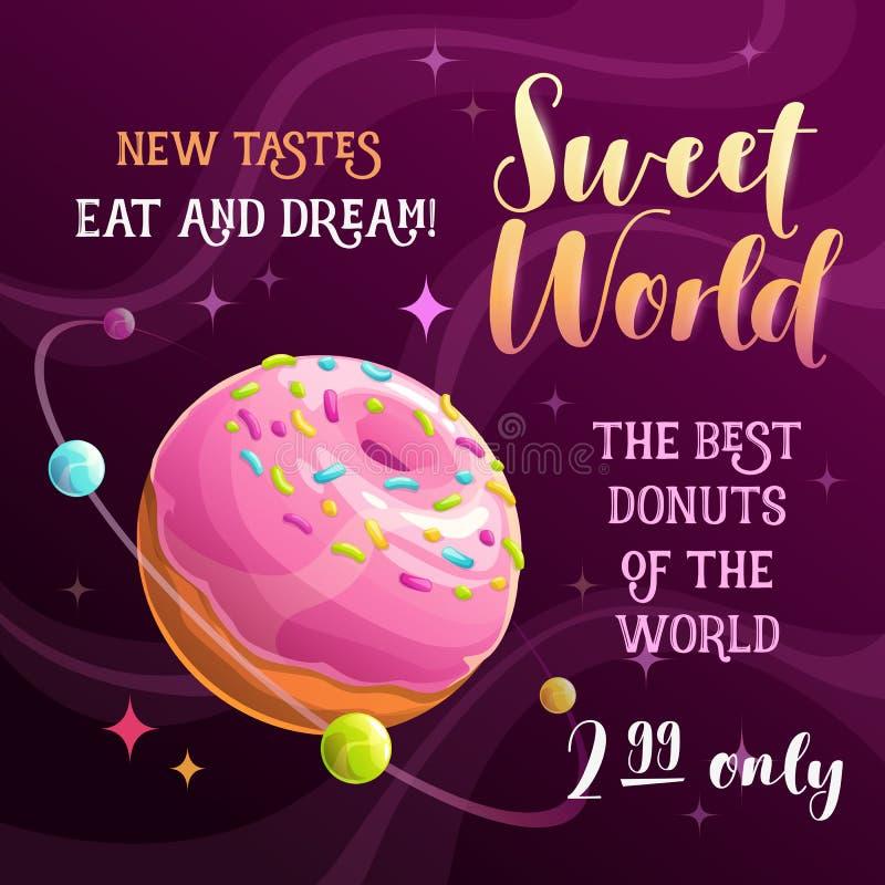 多福饼行星横幅 食物空间例证 向量海报 库存例证